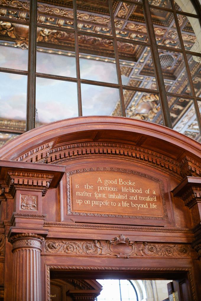 great quote on an interior facade in the new york city public library