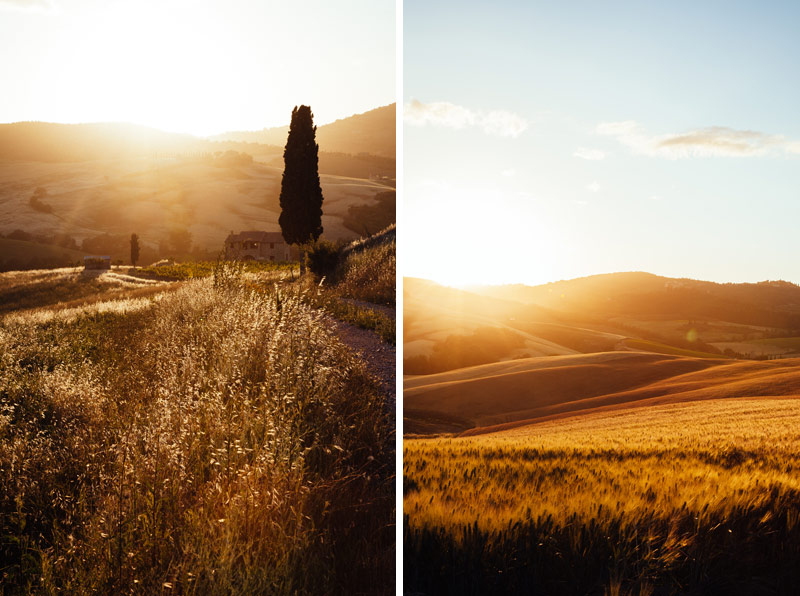 tuscan farm house sunset