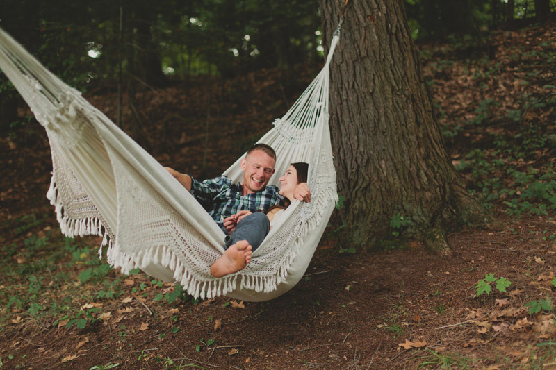 couple in a hammock engagement photos