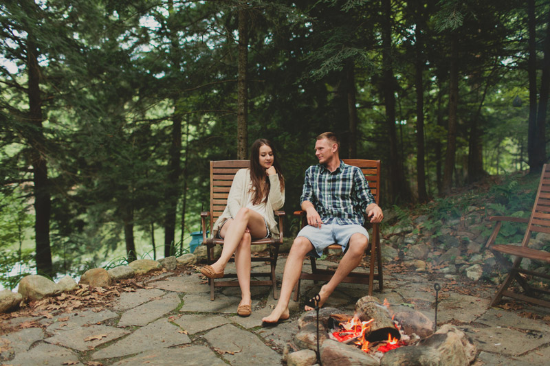 Camp Fire Cottage Engagement Photos