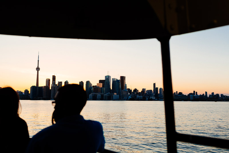 toronto skyline sunset wards island ferry