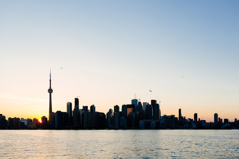 toronto skyline sunset from wards island ferry