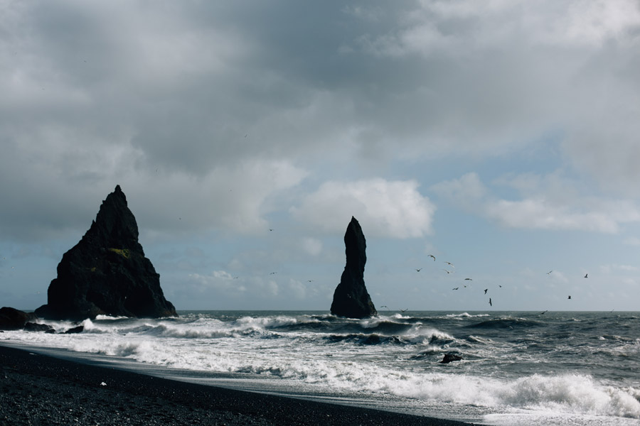 Sea stacks black sand beach Iceland