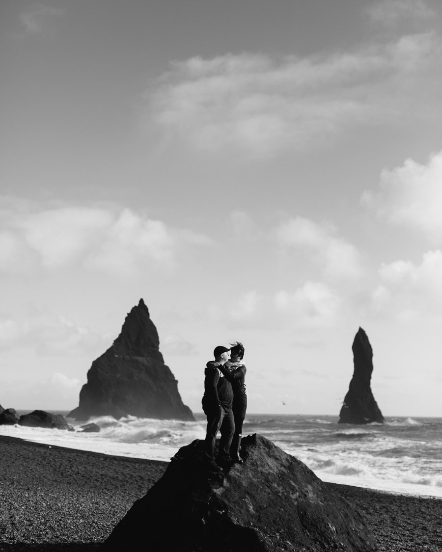 Black sand beach couples photos