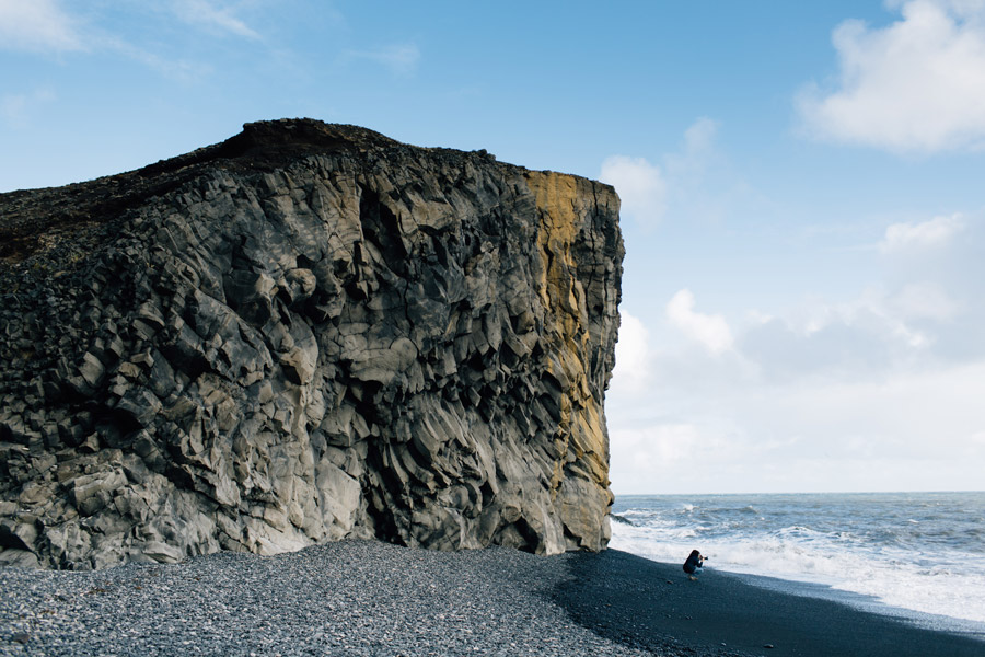 rock formations black sand beach Iceland