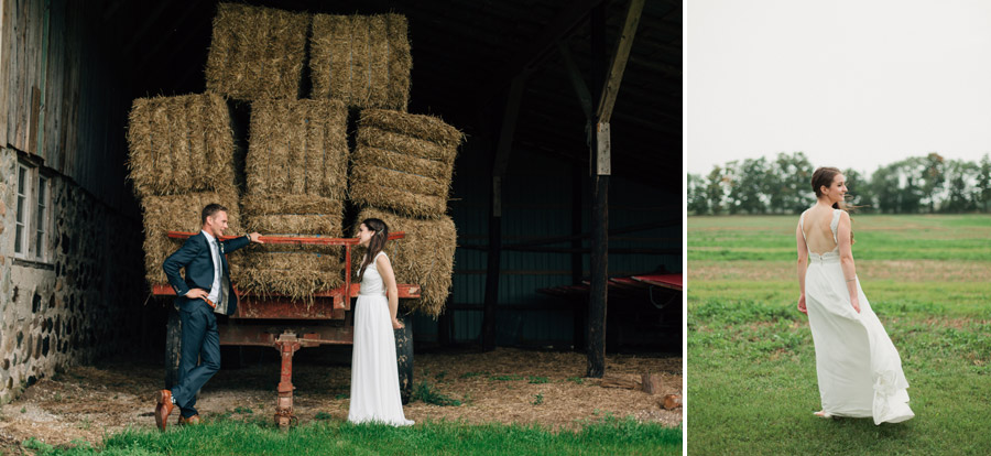bohemian farm wedding sash and bustle wedding dress