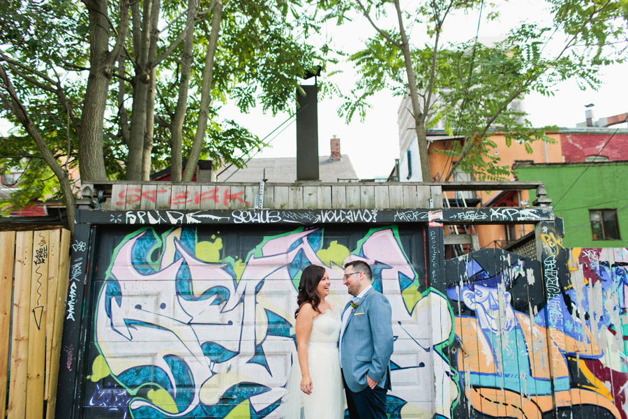 Graffiti wall wedding photos
