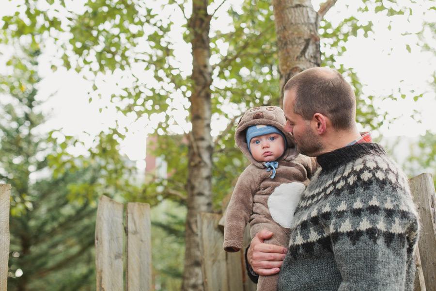father holding son Reykjavik