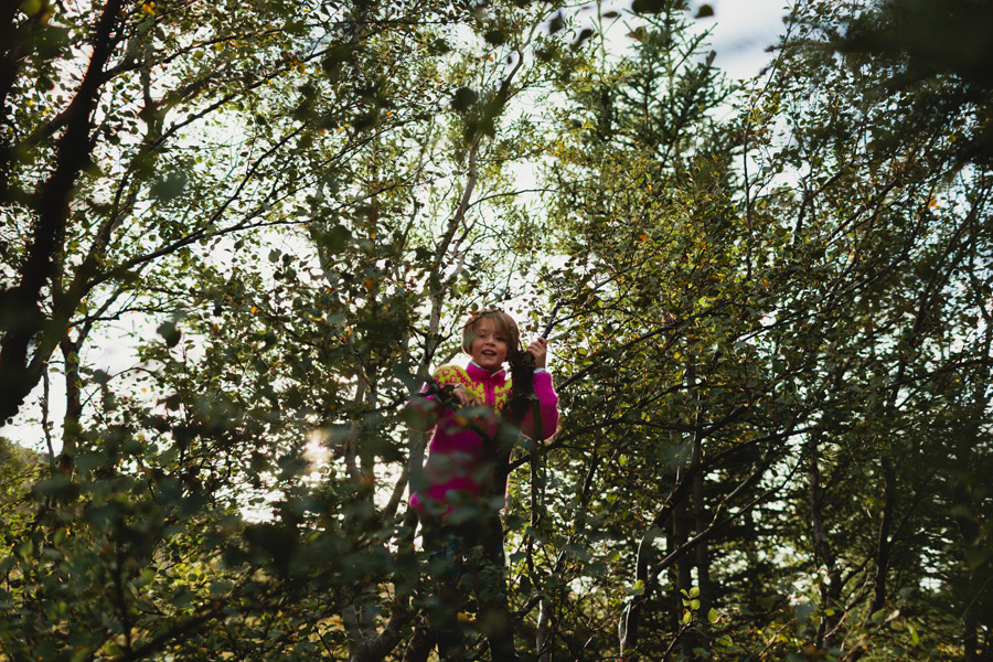 icelandic girl playing in tree
