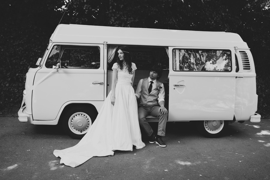 Vintage VW camper wedding photos