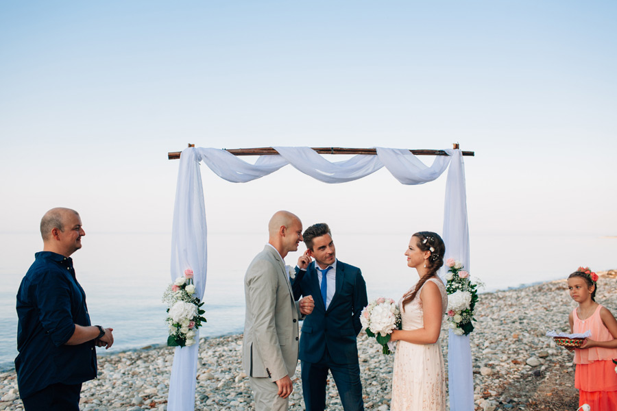 romantic beach wedding sunset greek island