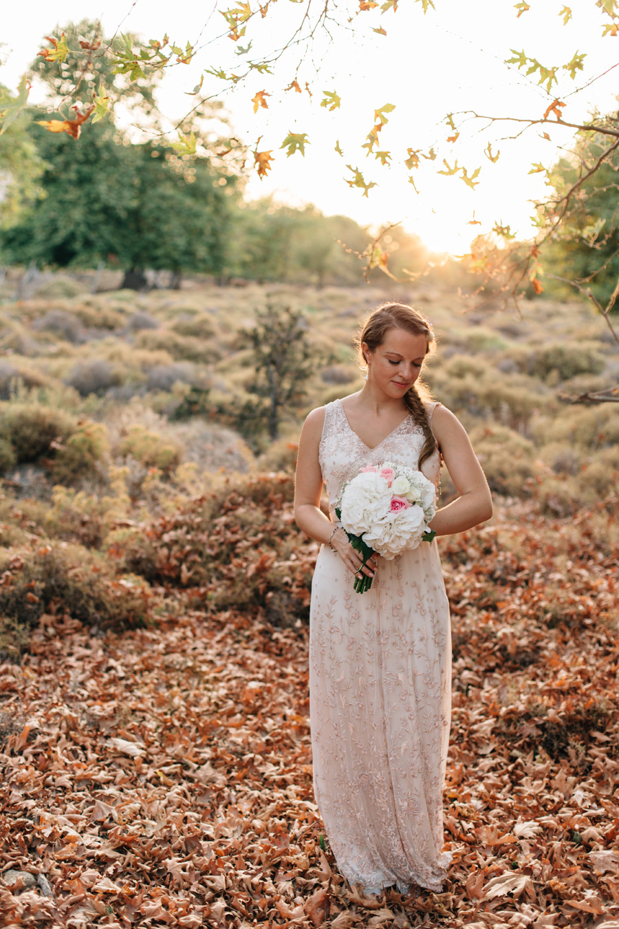 BHLDN bride blush coloured dress