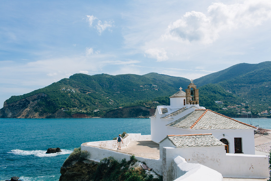 Skopelos church by the sea