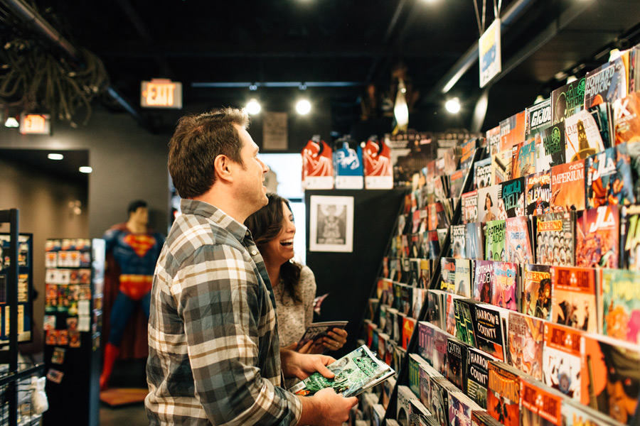comic bookstore engagement pictures