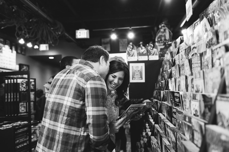 engagement photos at comic book store