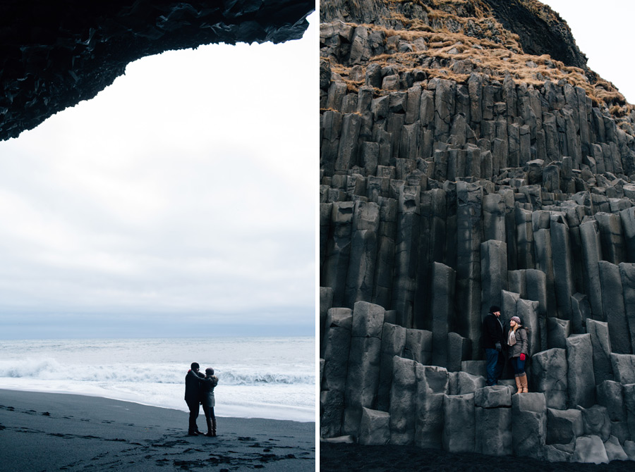 Iceland black sand beach engagement pictures