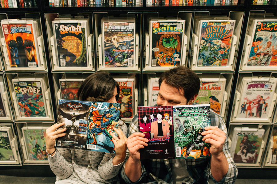 comic book lover engagement pictures