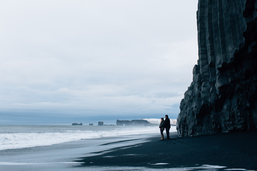 black sand beach engagement pictures