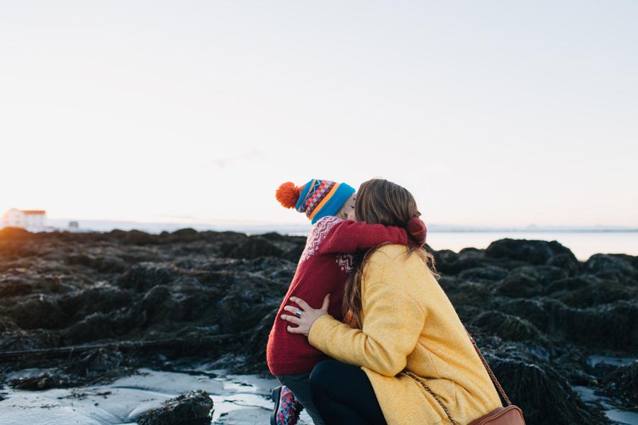 playful family photo session Iceland
