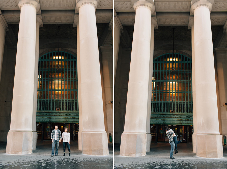 engagement pictures Toronto Union station columns