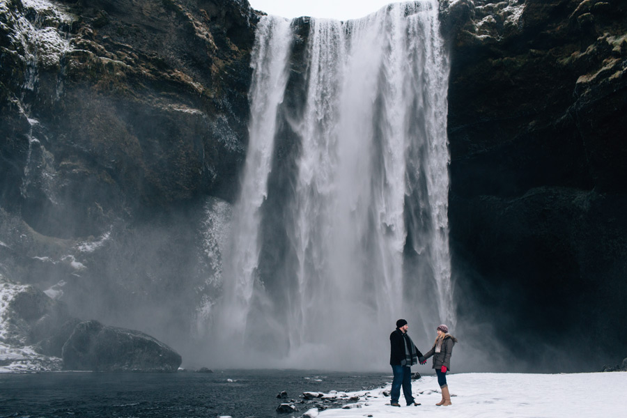 Icelandic waterfall engagement photos