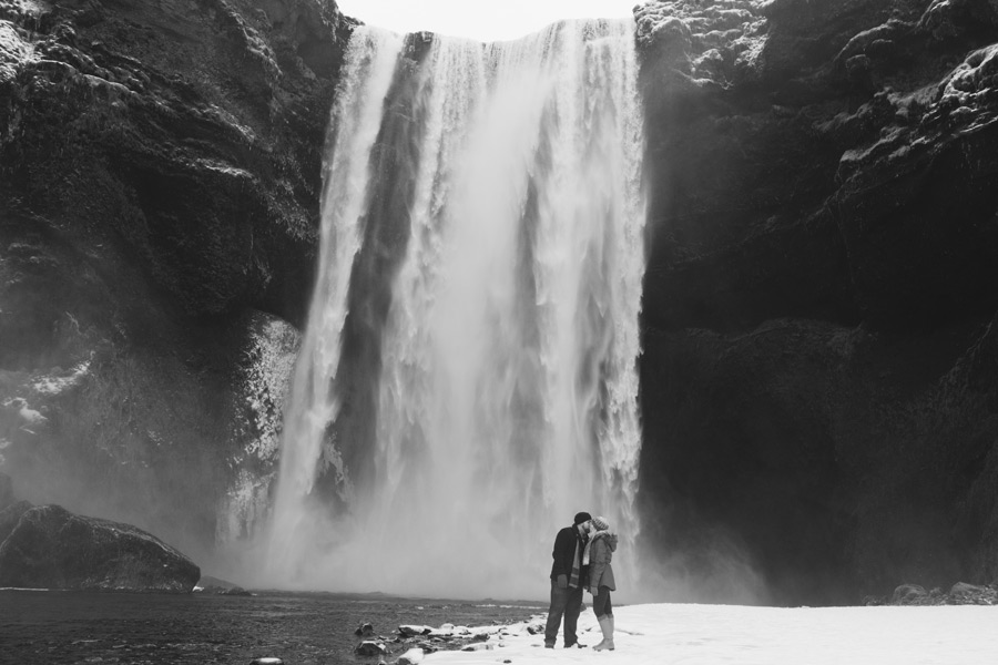 Icelandic waterfall engagement pictures