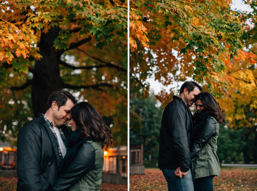 changing leaves engagement photos