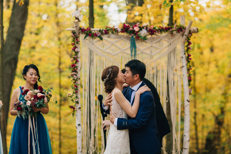 Fall outdoor wedding ceremony Kortright Centre