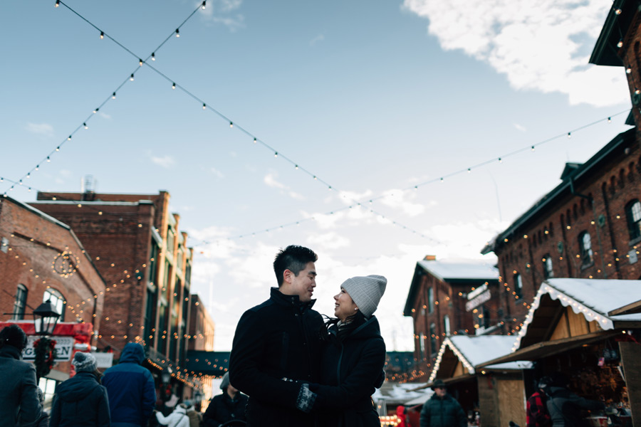 Toronto Christmas Market engagement photos